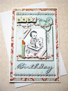 Baby's first Birthday card Happy birthday One by littledebskis