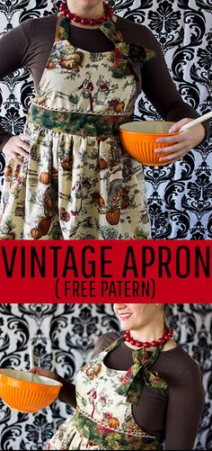 I love this vintage style apron tutorial. It comes with a free PDF sewing pattern, written and video instructions. Perfect apron for the holidays or playing hostess. #apronpattern #apronpatternfreeeasy #apronpatternfree #apronsvintage #apronsewingpattern #sewingproject Craft Projects For Adults, Easy Sewing Projects, Cool Diy Projects, Sewing Tutorials, Fleece Projects, Sewing Tips, Aprons Vintage, Vintage Sewing, Apron Pattern Free