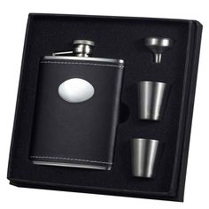 Visol Eclipse Z Black Leather Flask Cup and Funnel Gift Set (8 ounces) #WineFlask