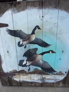 Canadian Geese Painted Old Wood Barn Door Rustic Vintage Decor Salvage, Signed! #ArtistSigned