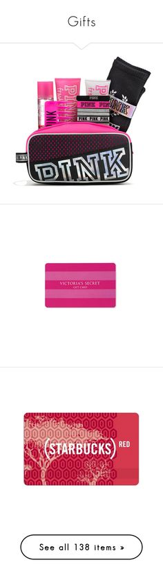 """""""Gifts"""" by camillebealee ❤ liked on Polyvore featuring gift cards, fillers, pink, accessories, money, red fillers, red, backgrounds, starbucks and cards"""