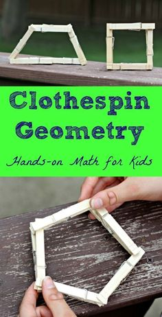 18 Clothespin Math Activities & Games Fun math activities using clothespins — shapes, geometry and 20 math concepts for elementary. Geometry Activities, Math Activities For Kids, Math For Kids, Fun Math, Math Games, Easy Math, Steam Activities, Geometry Games, Shape Activities