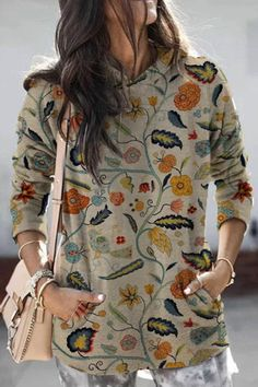Vintage Floral Print Paneled Side Pockets Hoodie - Diorer Shirt Blouses, T Shirt, Graphic Sweatshirt, Long Sleeve Sweater, Fashion Prints, Types Of Sleeves, Blouses For Women, Floral Tops, Floral Prints