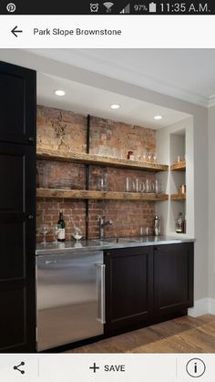 Park Slope Brownstone Traditional Home Bar New York Michael Schmitt Architect Pc Here I Don T Mind The Open Shelves Because Of Exposed Brick