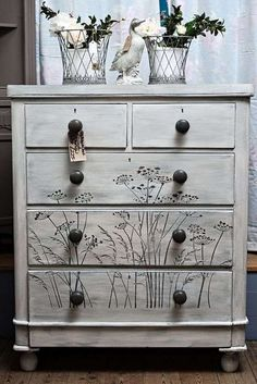 hand painted furniture Victorian chest of drawers. This one has been given the weathered paint look in grey and white and has a cow parsley design stenciled on the drawers, definitely one of a kind :) Chalk Paint Furniture, Hand Painted Furniture, Funky Furniture, Refurbished Furniture, Repurposed Furniture, Shabby Chic Furniture, Furniture Projects, Furniture Makeover, Furniture Stencil