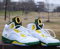 Custom JORDAN fives Oregon ducks!