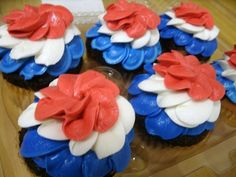Red, White,  Blue Cupcakes