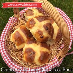 Cranberry and lime hot cross buns recipe, hot cross buns, hot cross buns recipe Hot Cross Buns, Instant Yeast, Dried Cranberries, Easter Treats, Main Meals, Tray Bakes, Gingham, Brunch, Lime