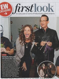 """""""This candid moment came courtesy of Hanks, who pranked Roberts on the  set of the rom-com Larry Crowne (out July 1). """"Julia would knit on the  set–scarves, hats"""" recalls producer Gary Goetzman. """"One morning, Tom  thought it would be hilarious if everyone was doing it. So she walked on  set and saw 50 people knitting."""""""