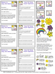 Printable Camp Doll Diaries Forms for your Dolls So cool! Print them! They are free!