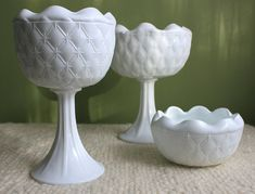 Milk Glass Footed Planter Bowl Vase  Milk by AnythingDiscovered