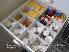 drawer dividers and sock organizers for craft organization. love this.