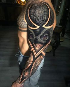 Full Sleeve Tattoo Designs For Men - Best Sleeve Tattoos For Men: Cool Full Slee.Full Sleeve Tattoo Designs For Men - Best Sleeve Tattoos For Men: Cool Full Sleeve Tattoo Ideas and Designs Owl Tattoo Design, Full Sleeve Tattoo Design, Tattoo Designs Men, Design Tattoos, Epic Tattoo, Badass Tattoos, Cover Tattoo, Tattoos For Guys, Tattoo Arm
