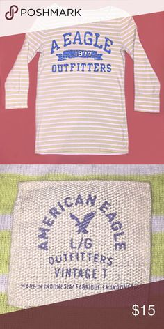 Women's size Large 3/4 sleeve Aeropostale tee Color of shirt is more like the picture featuring the tag.  No rips or stains.  Excellent condition.  Pet and smoke free home. Aeropostale Tops Tees - Long Sleeve