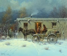 ❦ thirtymilesout:  Adobe in Winter oil G Harvey