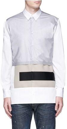 DSQUARED2 Contrast neoprene overlay cotton poplin shirt