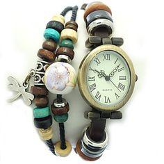 De la Mujer de la libélula del estilo cuero de la venda de la vendimia reloj pulsera de cuarzo analógico – EUR € 9.19