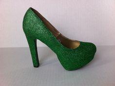 Green Glitter Heels -  Sparkle Pumps. $60.00, via Etsy.    for erin!
