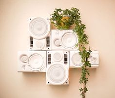 Modular HiFi Wall Sculpture with repurposed speakers & USB charging station by musicalfurnishings on Etsy