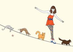 woman and the cats