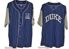 Vintage 90's Starter XL Duke University Blue Devils Baseball Sewn Jersey Shirt   Clothing, Shoes & Accessories, Men's Clothing, Casual Shirts   eBay!