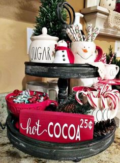 Easy DIY Indoor Christmas Decor and Display Ideas, Ways To Decorate Your Tiered Tray For Christmas, Kitchen Counters, or Fireplace Mantle Decorating, Christmas Decor Rustic Christmas, Christmas Home, Christmas Holidays, Christmas Crafts, Christmas Coffee, Elegant Christmas, Farmhouse Christmas Kitchen, Christmas Carol, Christmas Ideas
