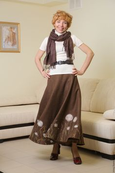"""Купить юбка валяная """"Одуванчики"""" - коричневый, цветочный, юбка, юбка длинная, валяная юбка"""