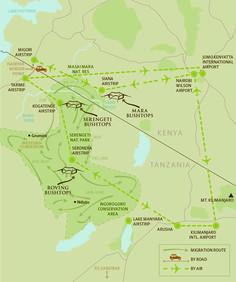 Lage der drei Bushtops Camps in Kenya und Tanzania