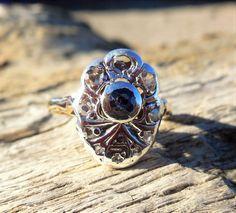 Vintage Antique Rose Cut Diamond Sapphire Unique Engagement Ring 18k Yellow Gold Georgian/ Victorian Giardinettto 1800's by DiamondAddiction on Etsy