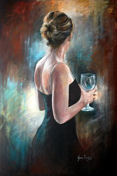Girl in Evening Dress' by Lynne Davies from LynneDaviesArt, £ - # . - Girl in Evening Dress' by Lynne Davies from LynneDaviesArt, £ – # … - Woman Painting, Figure Painting, Painting Canvas, Art Sketches, Art Drawings, L'art Du Portrait, Retro Poster, Vintage Posters, Beautiful Paintings
