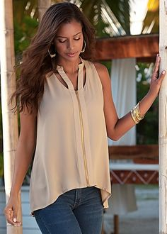 Tan Cut out zip up top from VENUS. Available in sizes XS-XL!