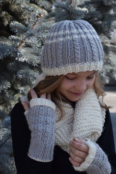 Items similar to Simple Grey Light Knit Hat and Matching Open Fingered Mittens, Girl/Teen, Made to Order on Etsy Grey Light, Yarn Crafts, Mittens, Knitted Hats, Winter Hats, Inspired, Knitting, Trending Outfits, Simple