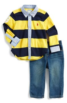 Ralph Lauren Rugby Shirt & Jeans (Baby Boys) available at #Nordstrom