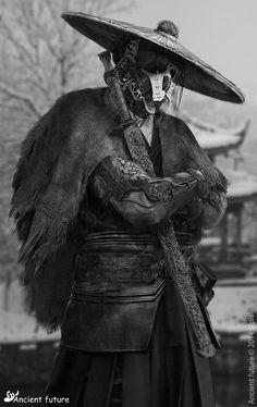 "astromech-punk: ""Dystopia Samurai by S-lpis "" Arte Ninja, Arte Robot, Character Concept, Character Art, Concept Art, Armor Concept, Geisha, Larp, Samourai Tattoo"