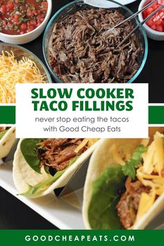 You'll love these slow cooker taco fillings. Whether it's Taco Tuesday at your house or you're entertaining a crowd, our taco fillings will help you save time and money while filling your taco cravings. Pork Carnitas Tacos, Taco Fillings, Slow Cooker Tacos, Refried Beans, Good And Cheap, Stop Eating, Family Meals, Dinner, Ethnic Recipes