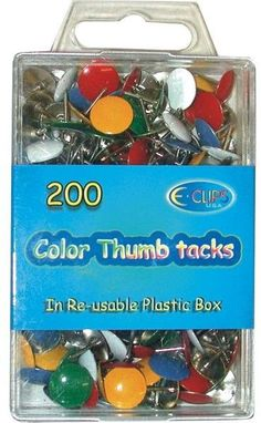 Color Thumbtacks 200 count Case Pack 48