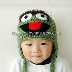 Oscar the Grouch Hat Crochet Baby Hat Animal by stylishbabyhats