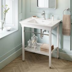 American Standard Town Square S White Bathroom Vanity Cabinet at Lowe's. The Town Square S washstand by American Standard offers a timeless design, inspired by classic architecture and crown molding. This beautiful washstand Next Bathroom, White Vanity Bathroom, Bathroom Vanity Cabinets, Vanity Sink, Bathroom Faucets, Small Bathroom, Bathroom Ideas, Bathroom Organization, Narrow Bathroom Vanities