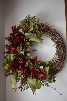 Spring wreath, home decor, Valentine's Day, grapevine wreath, rose wreath, floral design, handmade, peonies, summer wreath, Mother's Day