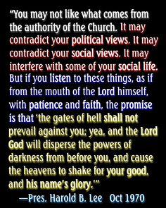 Elder Robert D. Hales quoted Pres. Harold B. Lee in Conference today. Pres. Lee said this in 1970; it's just as true today. #LDSconf #ElderHales