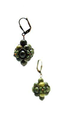 Beaded earrings - minerals, toho, fire polish