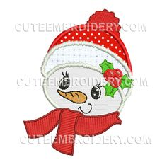 This free embroidery design is a snowman
