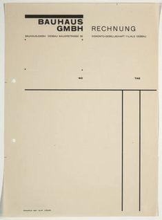 Herbert Bayer. Bauhaus GmbH Rechnung. 1925-26