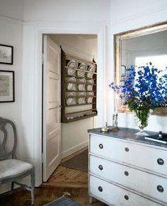 swedish chest, plate rack, delphinium