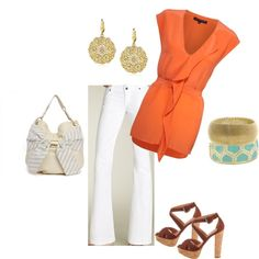 Loving the chicness of our French Connection silk top paired with white jeans & Deux Lux bow hobo bag.