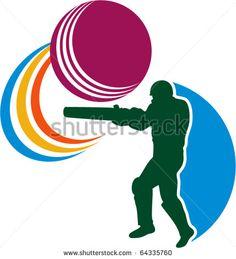 vector illustration of a cricket sports player batsman silhouette batting striking ball isolated on white - stock vector #cricket #retro #illustration