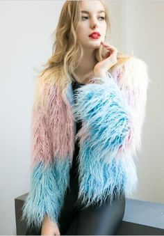 1c7fab1d3 Faux Fur Multicolor Long Coat Fur Multicolor, Winter Fashion Outfits,  Trendy Fashion, Trendy