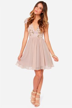 Bariano Sabina Beige Sequin Dress at Lulus.com!