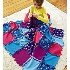 Fleece Starry Sky Knot-A-Quilt No Sew Craft Kit    I would still sew all the squares together, just to make sure that it won't come apart down the road.