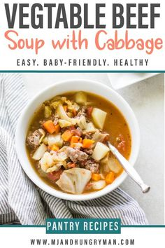 Whether you're looking for a healthy comfort meal or ways to use up all the fresh or frozen produce you've stocked up in the fridge, this vegetable beef soup with cabbage is sure to nourish you. It's also a great way to incorporate more vegetables into your baby or kid's diet. #vegetablebeefsoup #souprecipes #healthycomfortfood